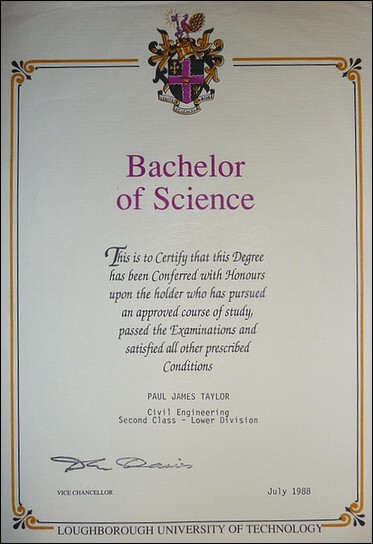 B.Sc. honours degree in civil engineering 1988