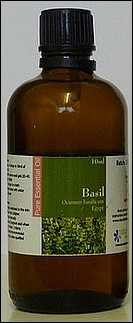 Basil essential oil bottle