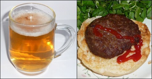 Glass of beer and beef burger