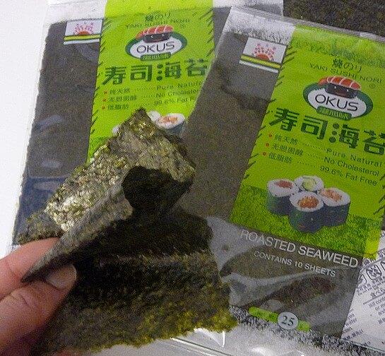 Healthy nori seaweed wraps