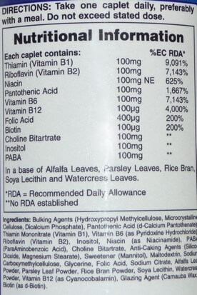 Multi B vitamin supplement ingredients list