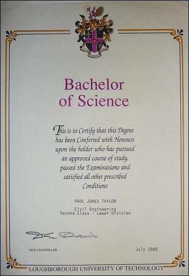 B.Sc. honours degree in civil engineering 1988