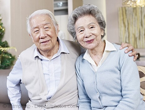 Senior Japanese couple without hair loss