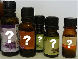 Essential oil bottles with question marks