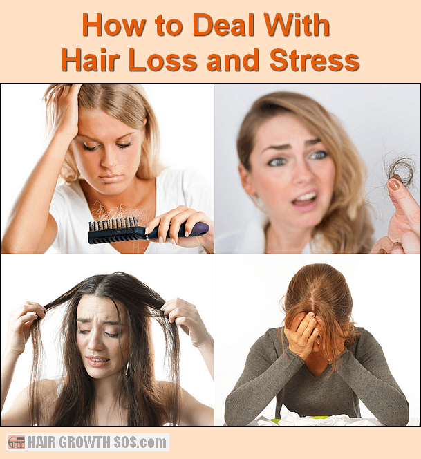 Women suffering hair loss and stress