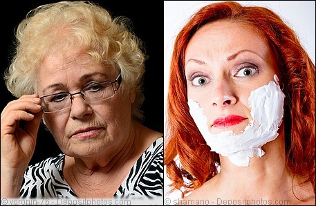 Elderly lady and mature lady with shaving cream on face