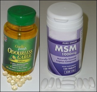 MSM tablets and odorless garlic capsules for hair growth