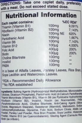 Multi B vitamin supplement ingredients list