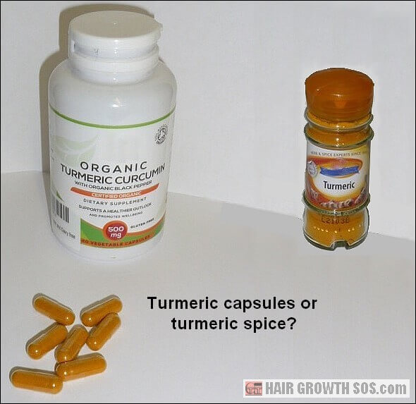 Turmeric capsules and spice bottle